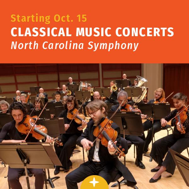 从10月开始. 15日,北卡罗来纳交响乐团的古典音乐会