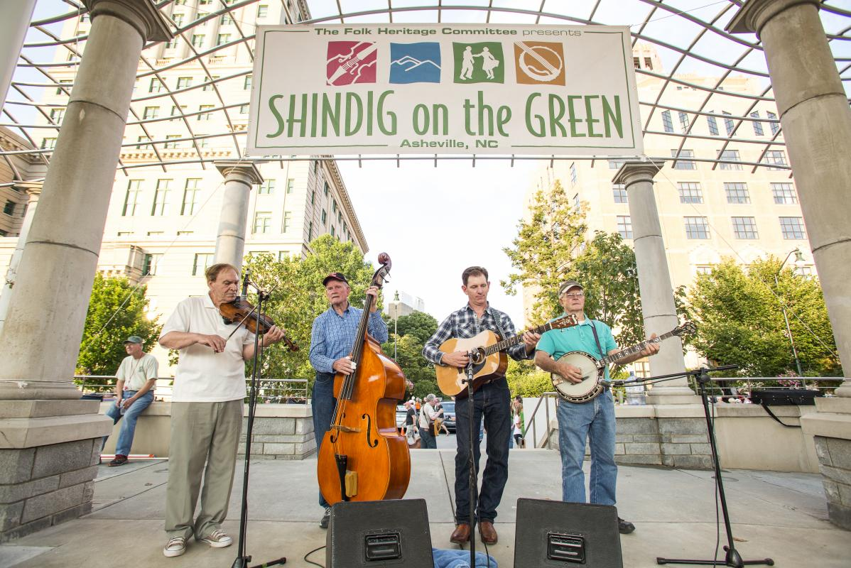 Performers on stage at Shindig on the Green