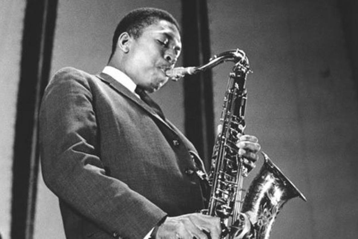 John Coltrane playing his tenor saxophone