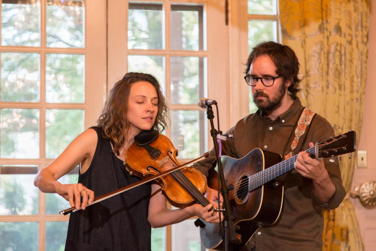Emily Frantz and Andrew Marlin of Mandolin Orange performing at the North Carolina Executive Mansion