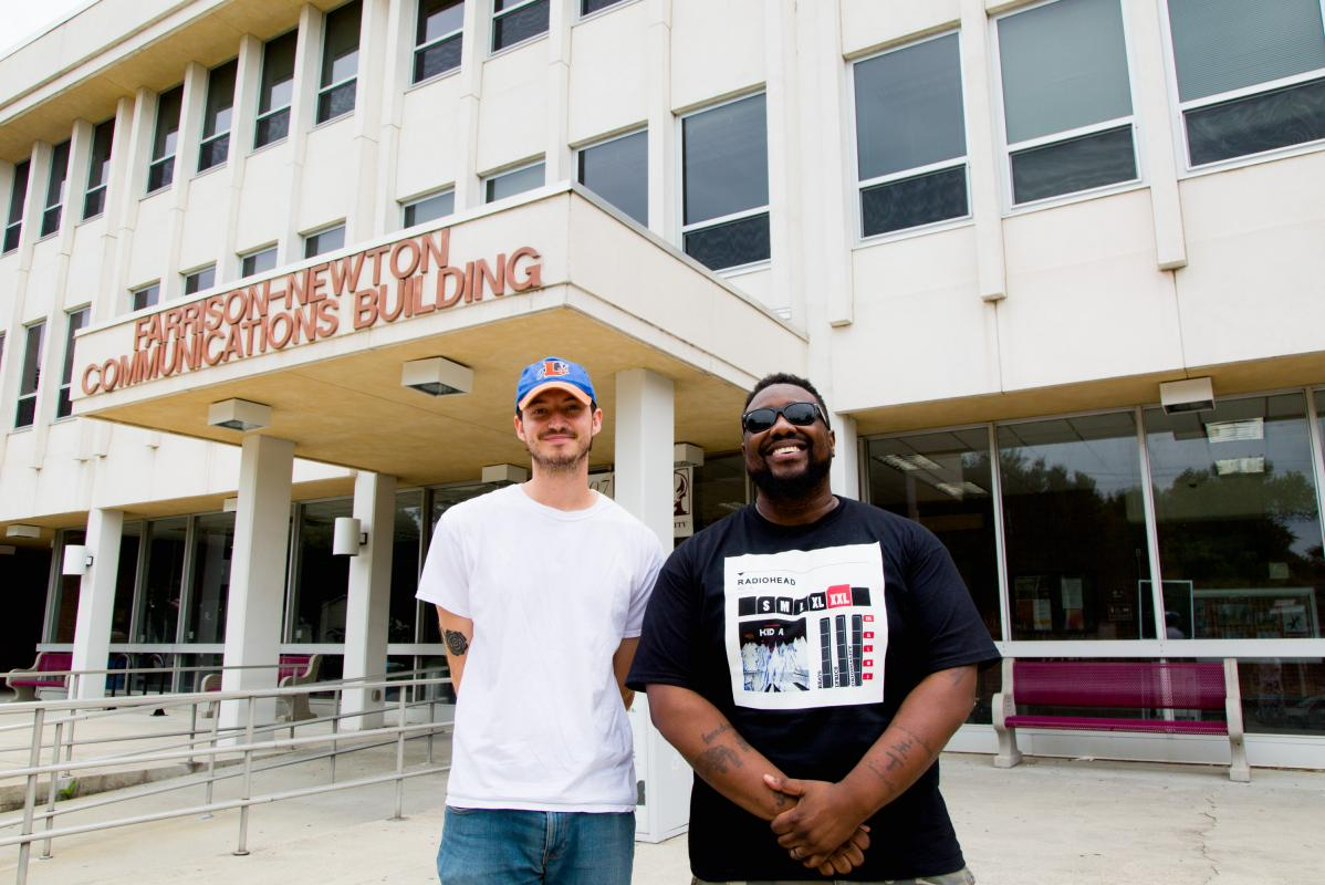 Filmmaker Holland Randolph Gallagher pictured with Phonte Coleman, founding member of the hip-hop group Little Brother, at North Carolina Central