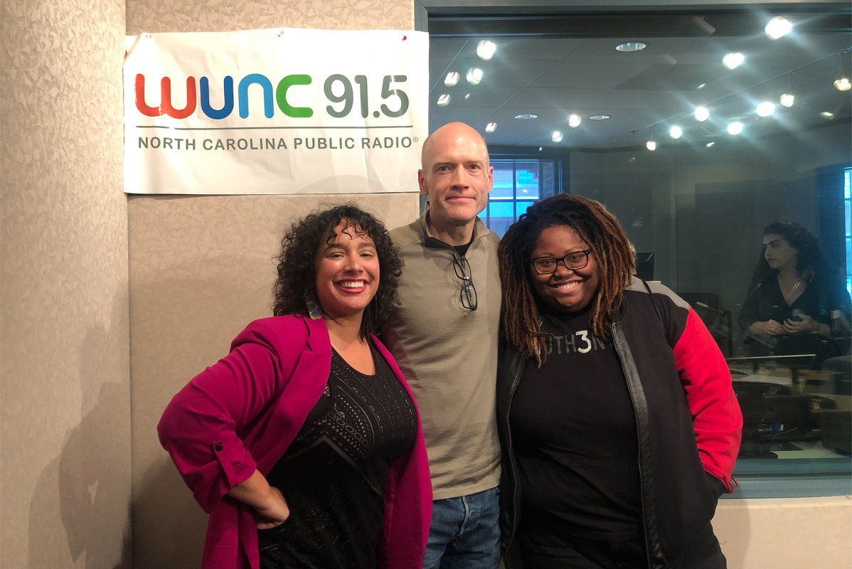 N.C. Arts Council music director with WUNC music critic Eric Hodge and 97.5 FM radio personality Miriam Tolbert