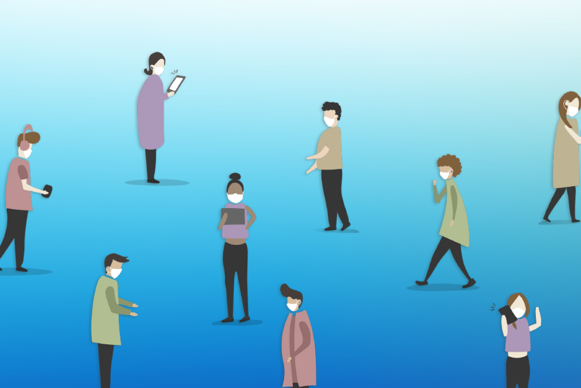 Graphic depicting people social distancing and using their phones