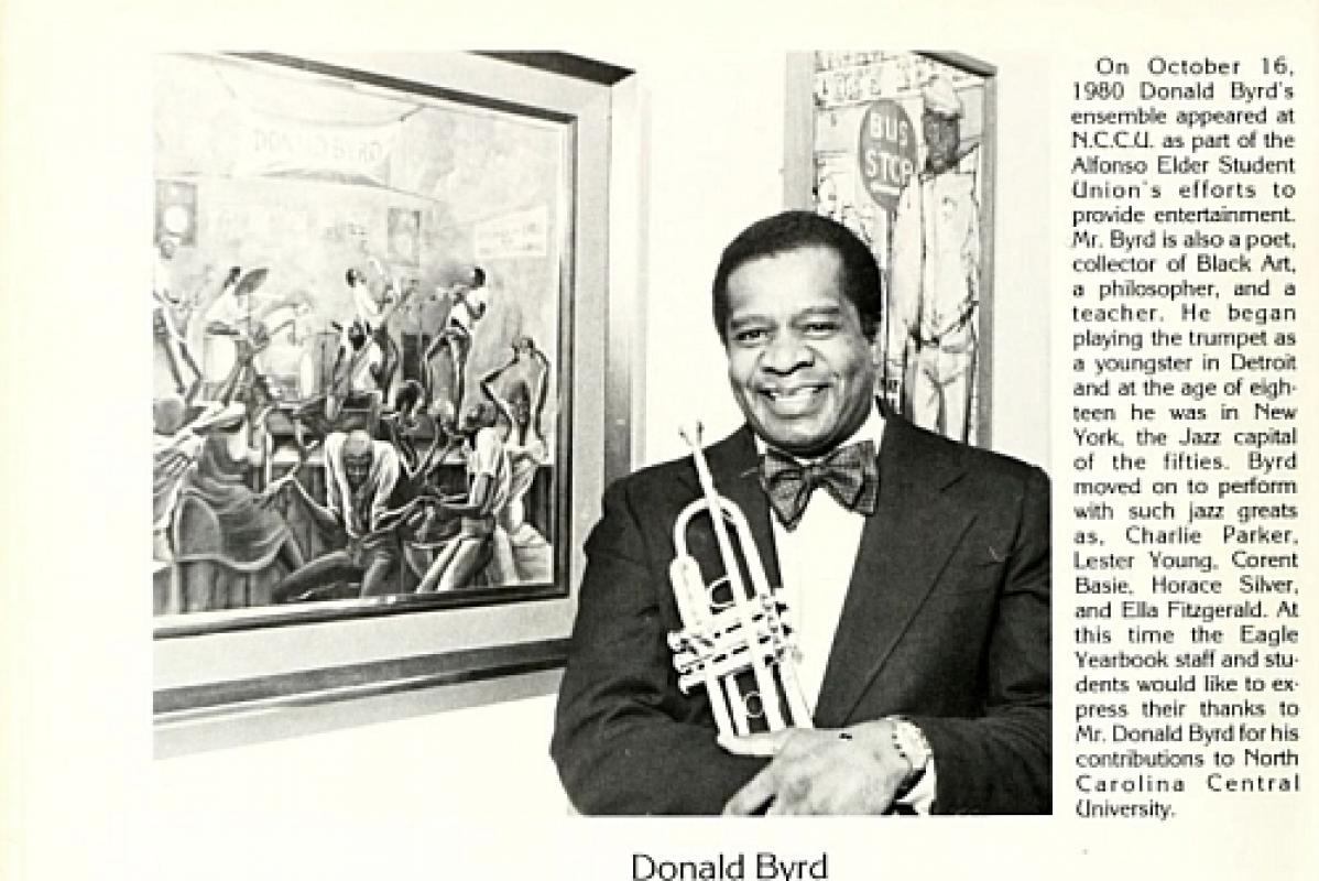 Photograph of Jazz trumpeter Donald Byrd from North Carolina Central Yearbook