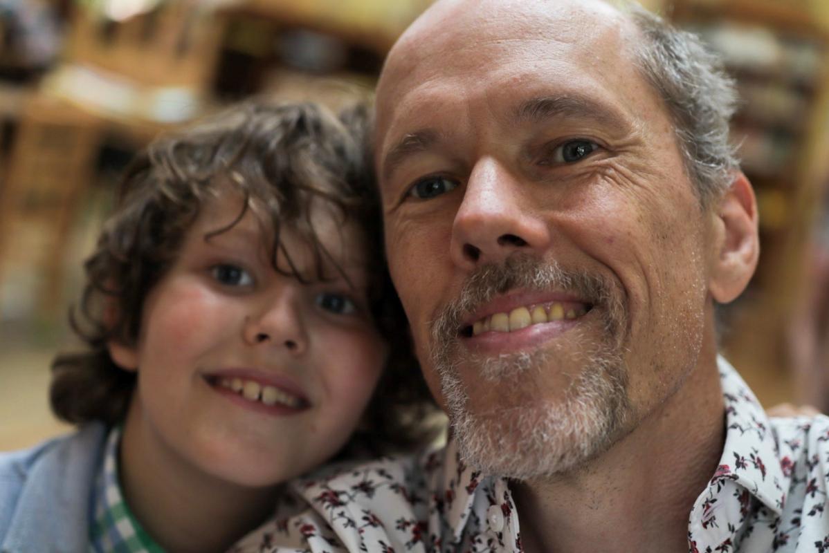 Jonathan Byrd with his child, Rowan