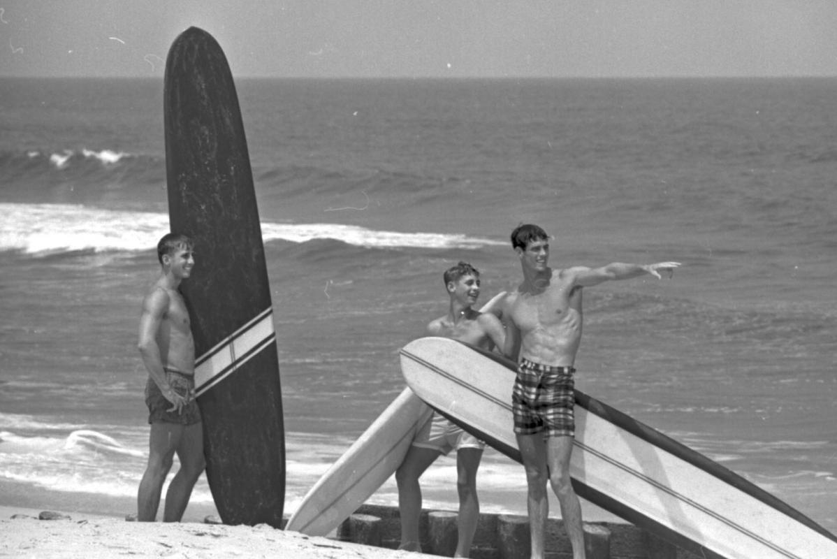 A group of young surfers in Kure Beach, Hanover County,  NC, on July 25, 1965. Photo from The News & Observer.