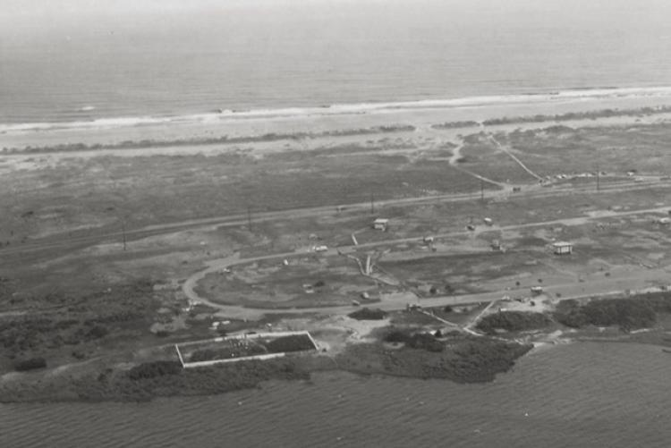 A black and white aerial photograph of the Salvo Community Cemetery from 1970.