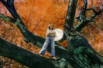 An image of musician Tift Merritt standing in the crook of a tree with orange leaves, with a large drum propped behind her.
