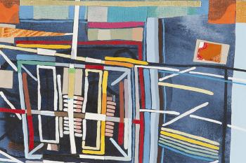 painting of colorful geometric strips and rectangles in shades of blue, orange and yellow