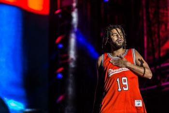 Grammy winner J. Cole performing at the inaugural Dreamville Festival