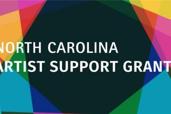 """A multicolored background with white text reading """"North Carolina Artist Support Grant"""""""