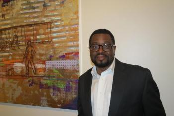 Tre' McGriff, Executive Director of the Charlotte based CineOdyssey Film Festival | Photo Credit: Gwendolyn Glenn, WFAE