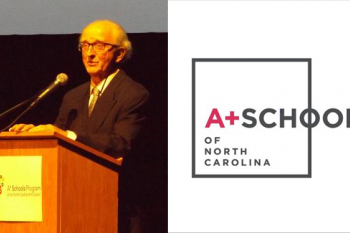 A photo of Vincent Marron with the A+ Schools logo next to it