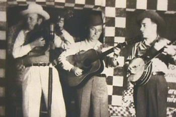 Left to right: Bill Monroe, Lester Flatt, and Earl Scruggs