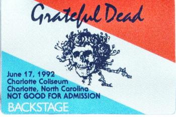 Backstage pass to the Grateful Dead's June 1992 concert