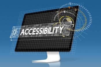 Computer with text displaying the word accessibility