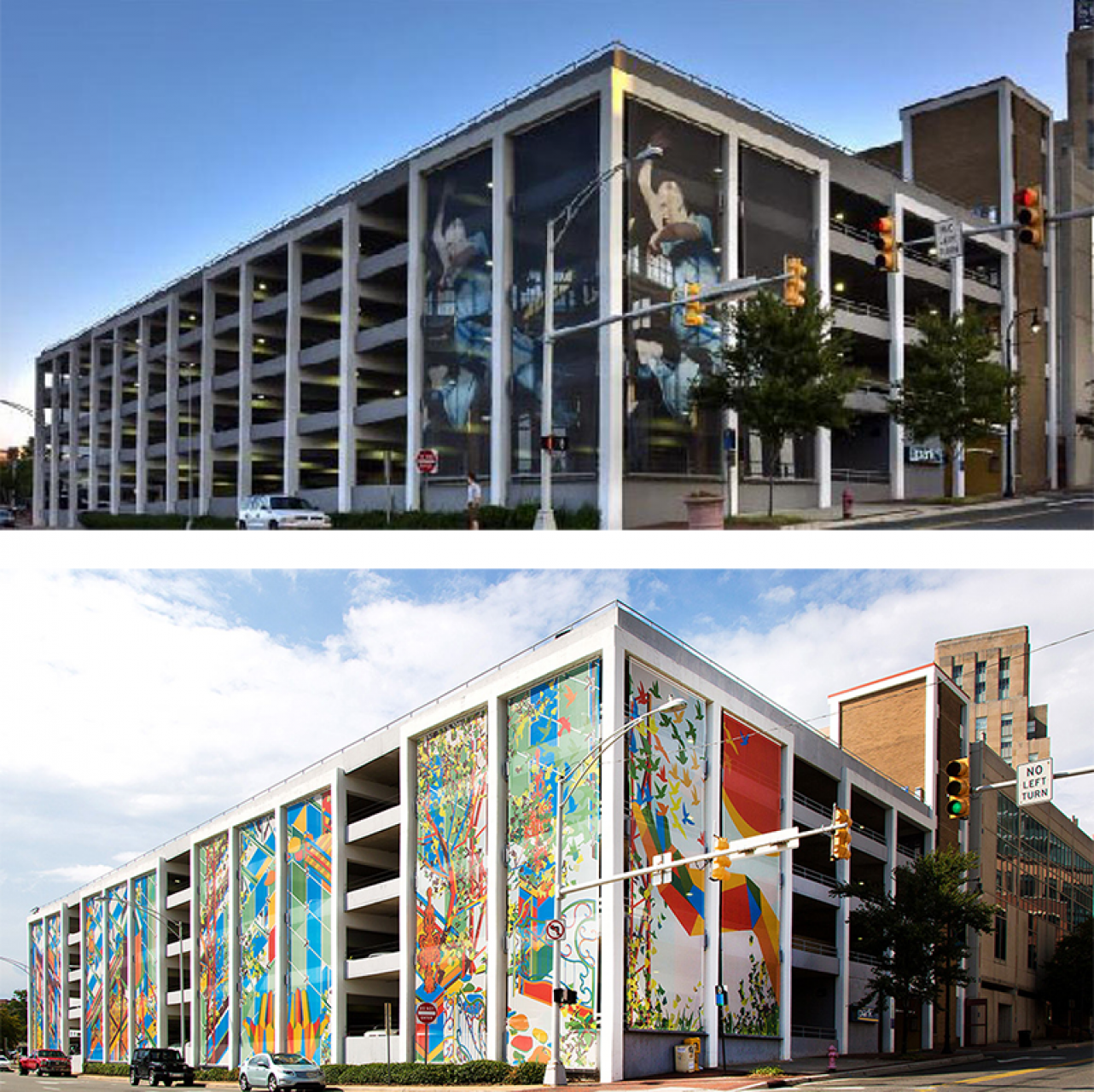 Durham's Corcoran garage, before (top) and after (bottom)c