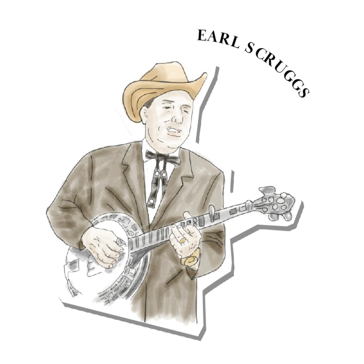 An illustration of Earl Scruggs