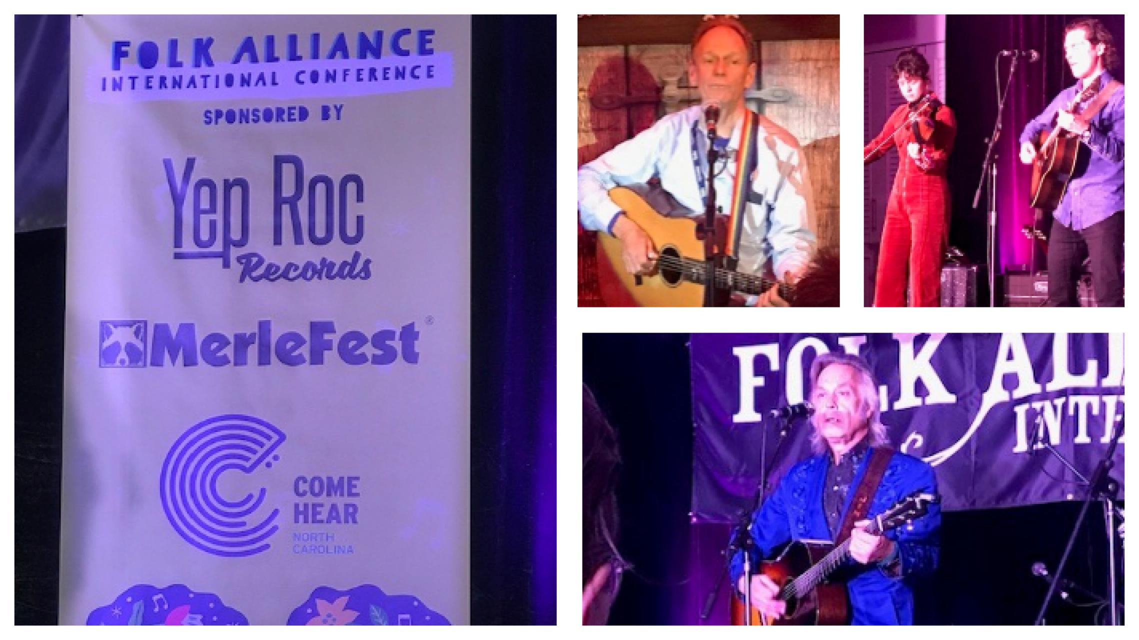 Clockwise from top right: Official banner for Come Hear NC Sponsorship at Folk Alliance International, Livingston Taylor, Mipso, Jim Lauderdale at Folk Alliance International