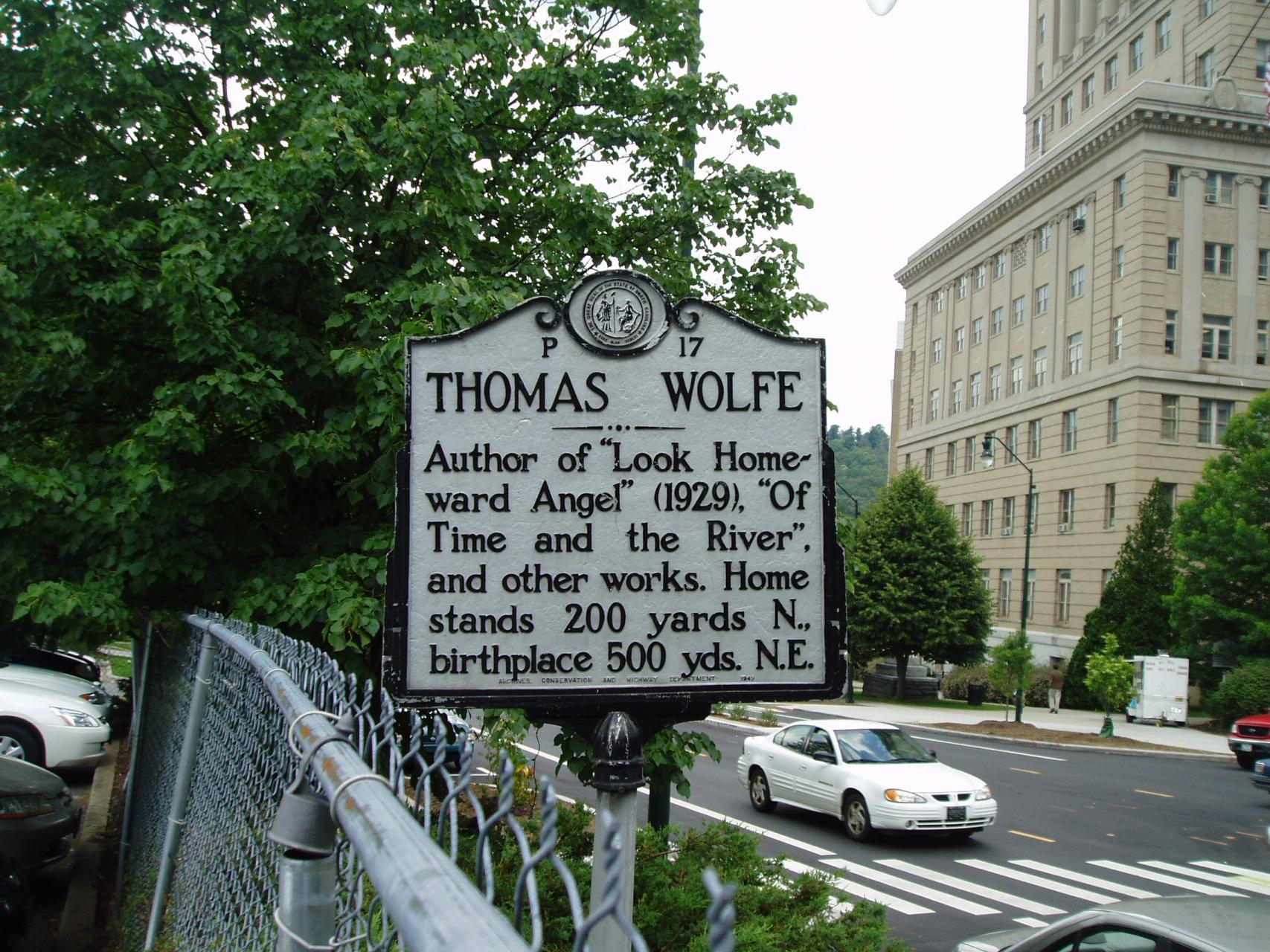 Historic Marker for writer Thomas Wolfe
