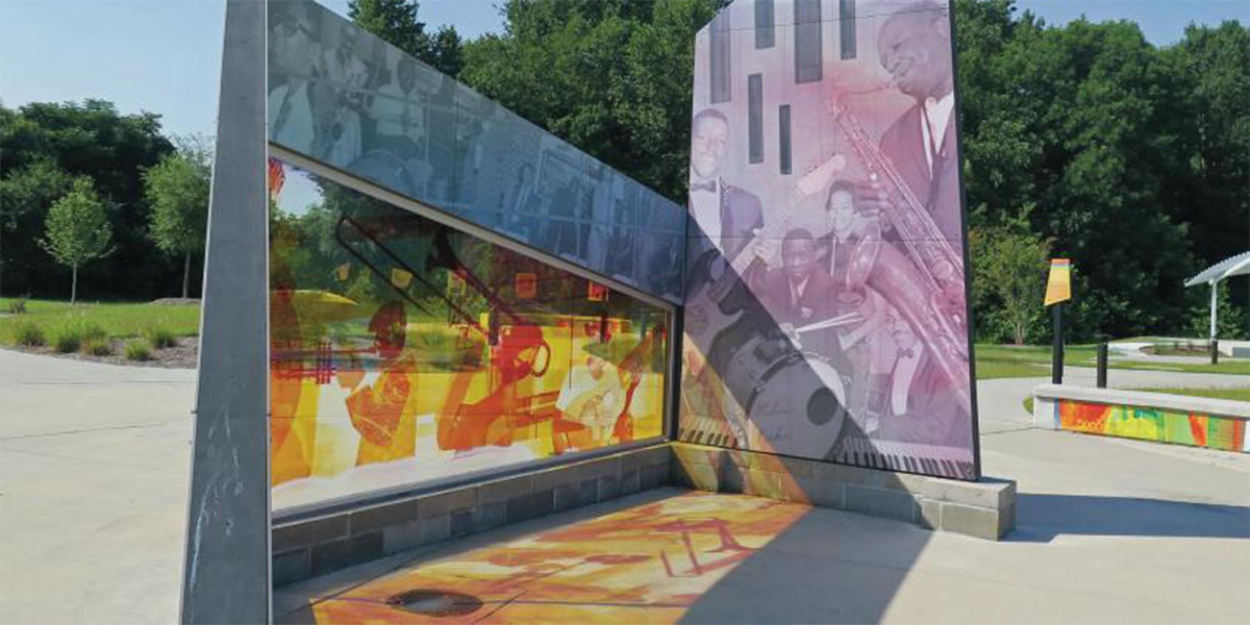 交叉口雕塑由大卫·威尔逊和布兰登·尤,金斯顿音乐公园