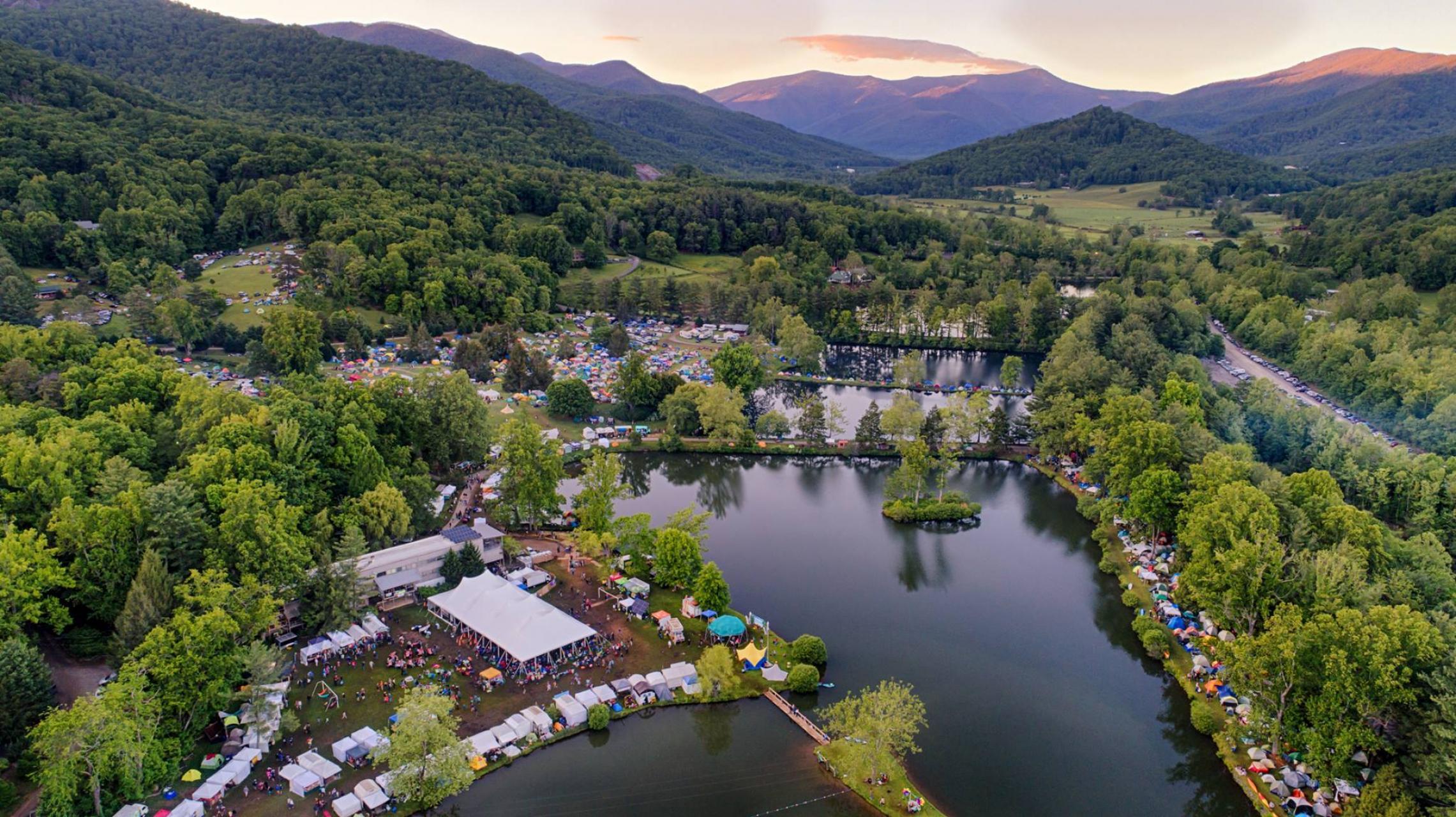 The LEAF Festival grounds, nestled around Lake Eden