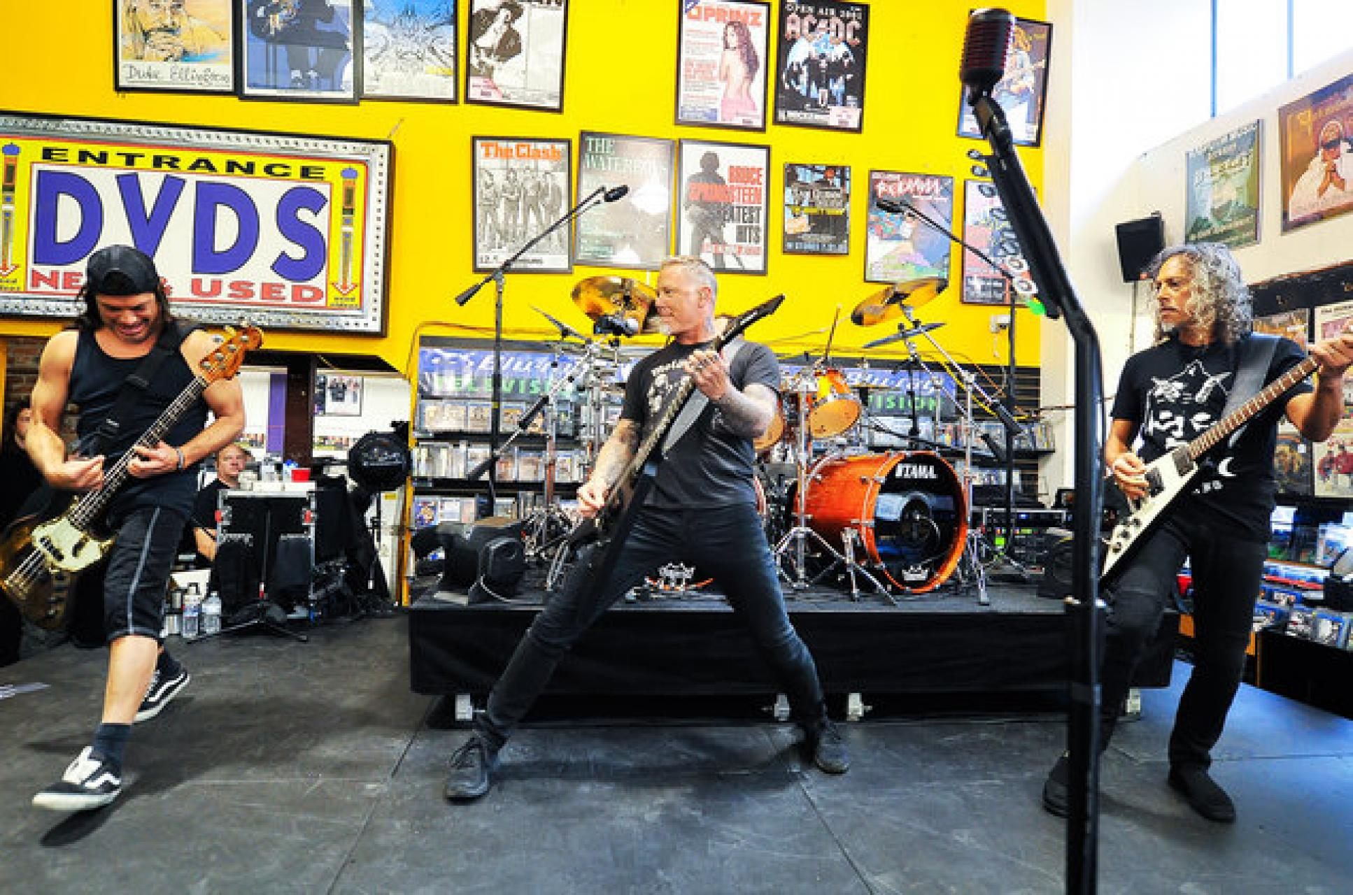 Metallica performing at a Record Store Day event in California, 2016