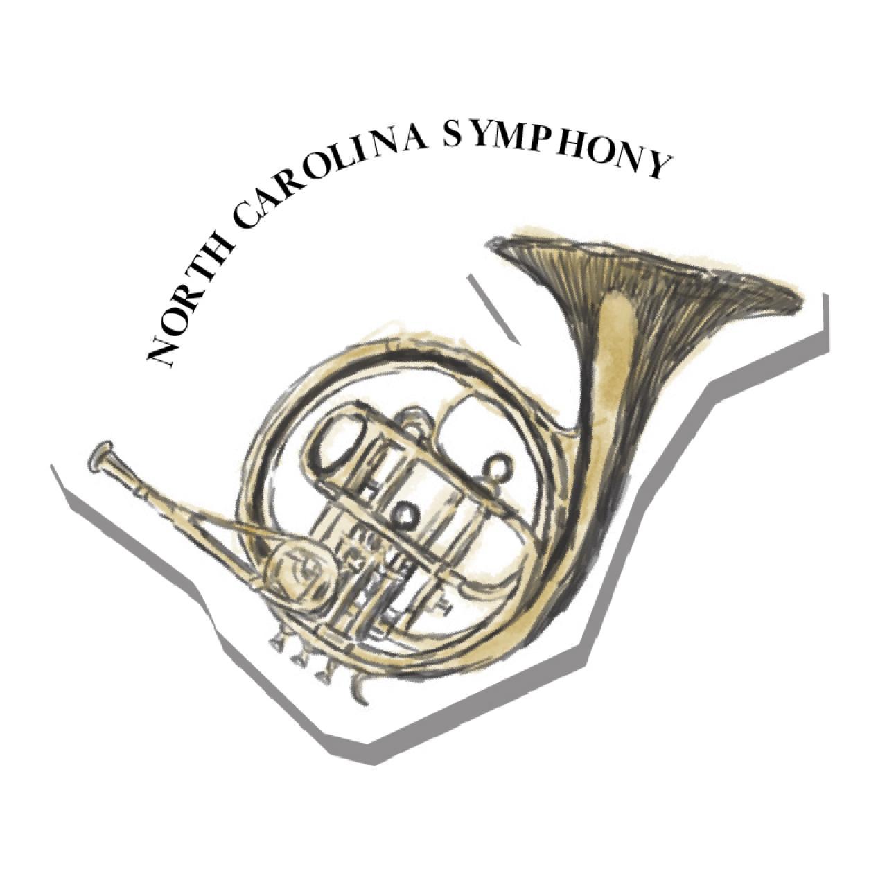 An illustration of a french horn, North Carolina Symphony