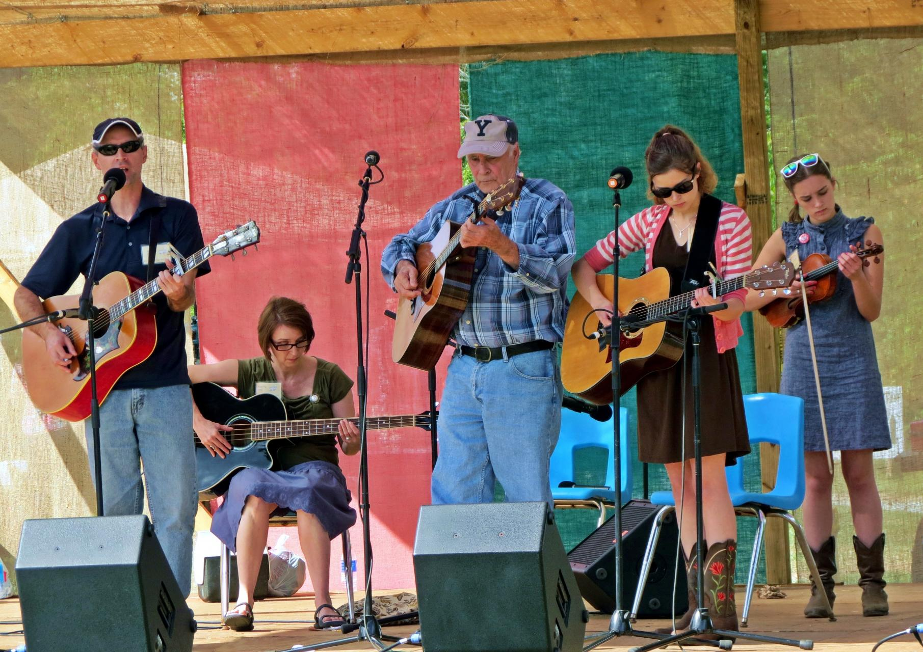 Paul, Tipper, Pap, Corie, and Katie Pressley performing at WCU's Mountain Heritage Festival
