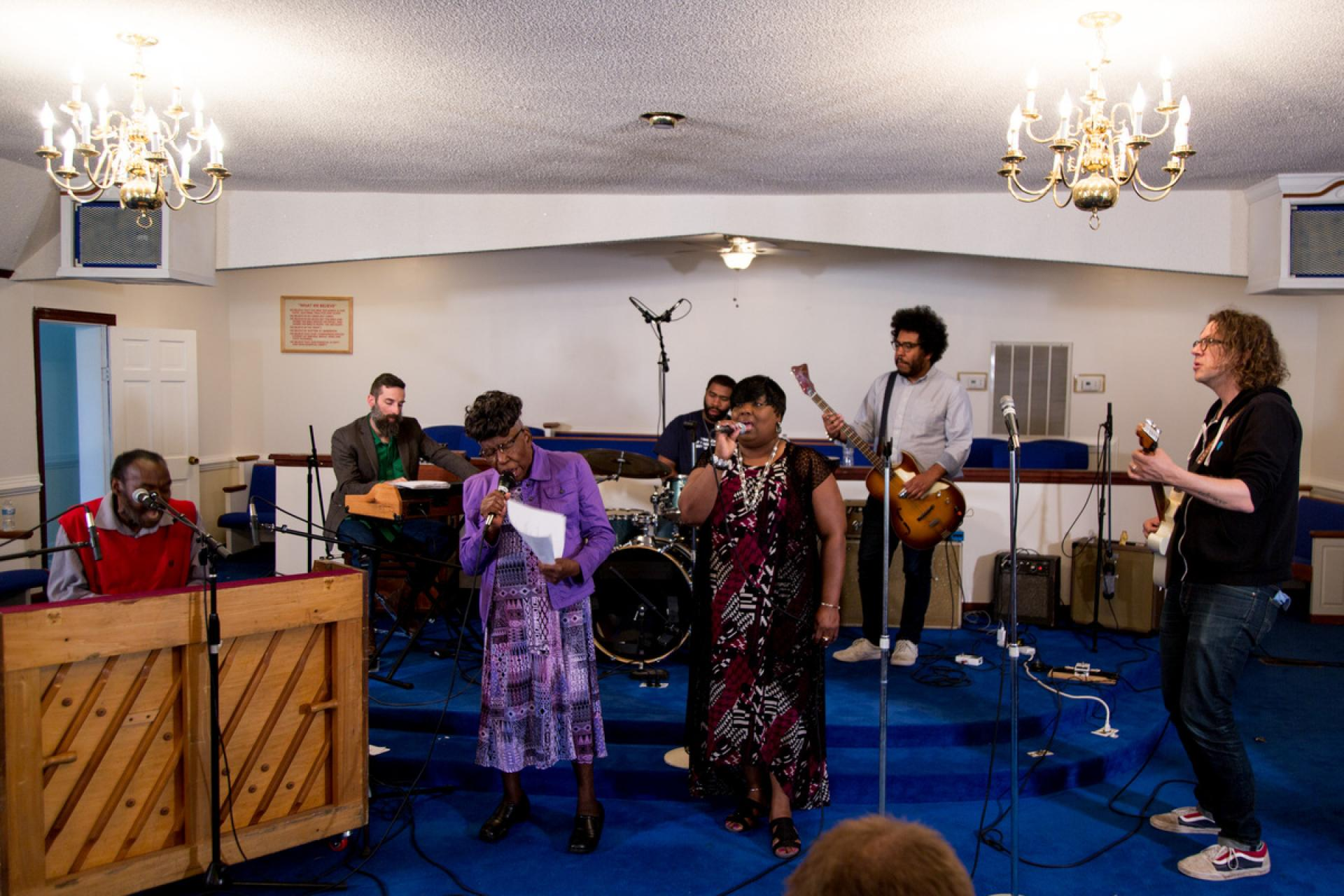 Rehearsal at Long Branch Disciples of Christ Church in Newton Grove, N.C.