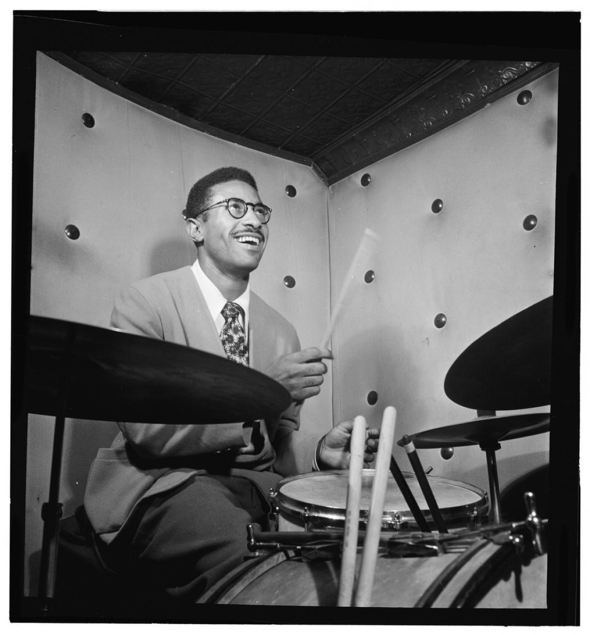 Portrait of legendary jazz drummer Max Roach. Photo by William Gottlieb.