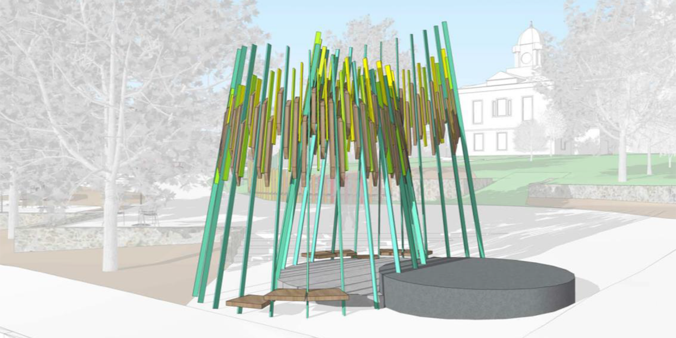 Rendering for Morganton Courthouse Square project by artist Miki Iwasaki