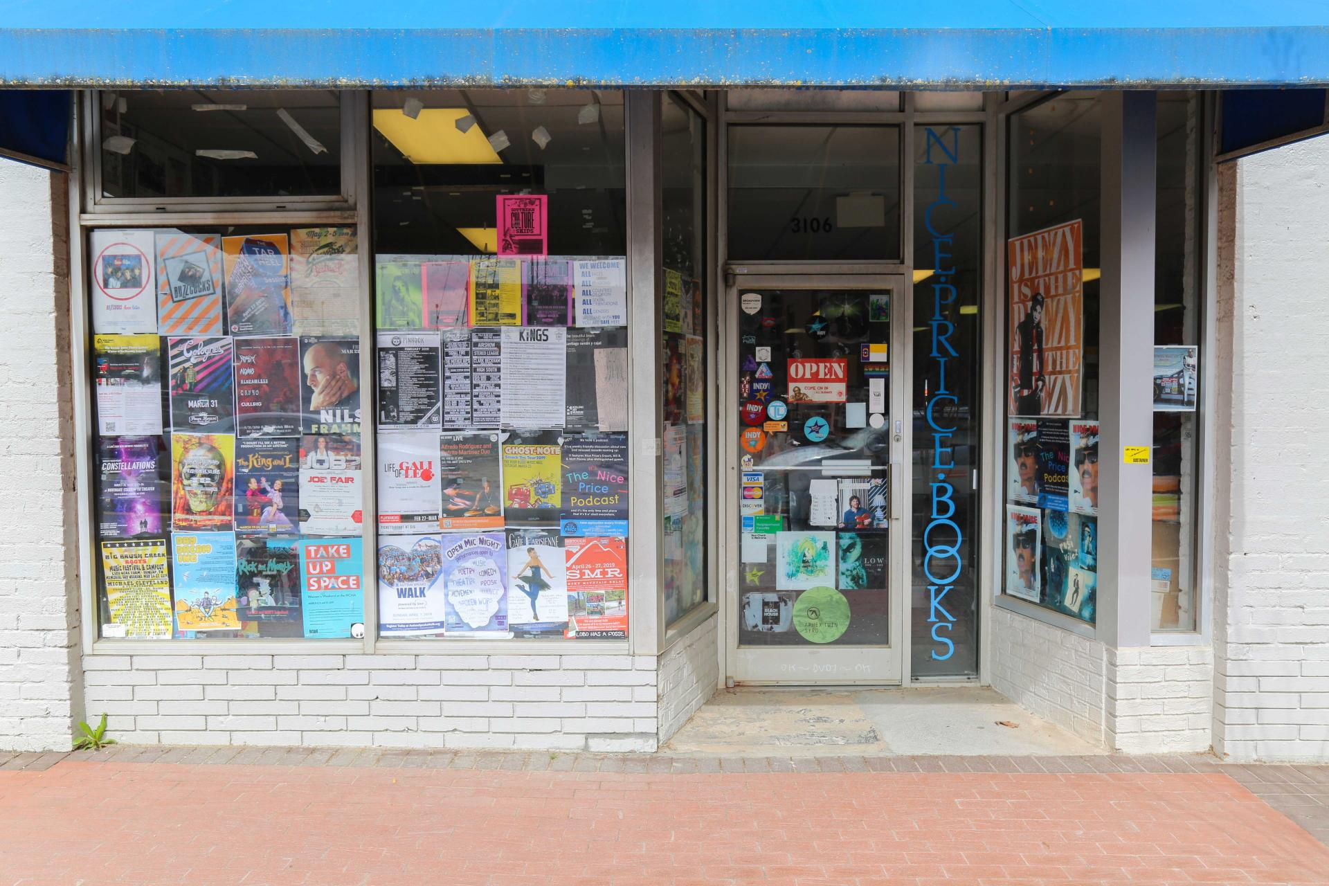 Pictured here: The storefront of Nice Price Books & Records on Hillsborough Street