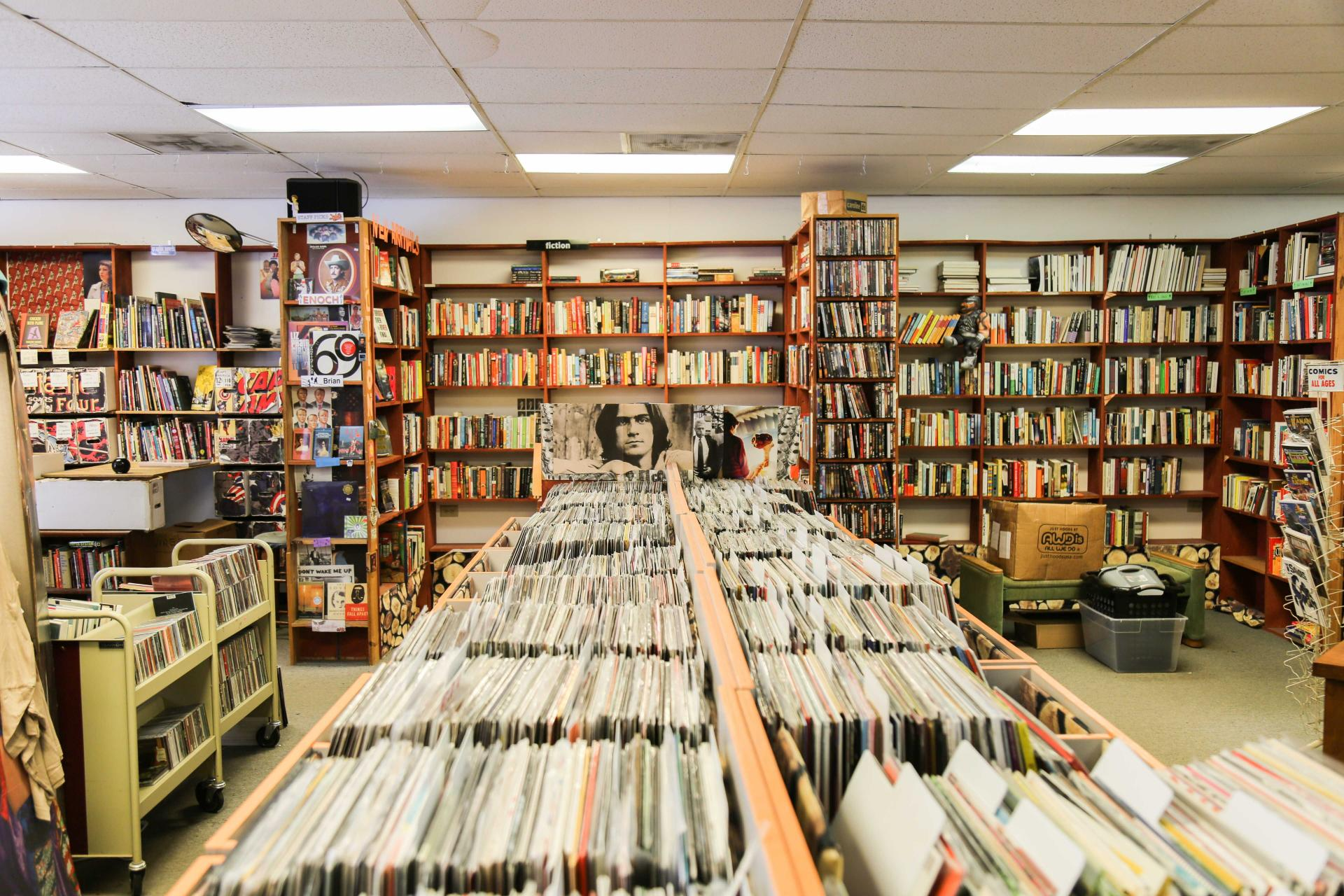 Pictured here - the interior of Nice Price Books & Recrods in Raleigh, NC.