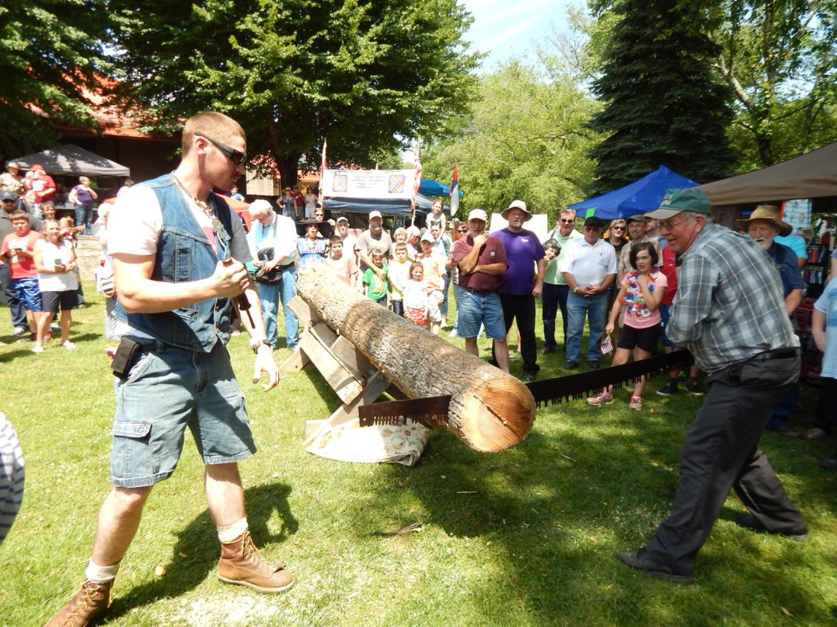 Log sawing at Swain County Heritage Festival