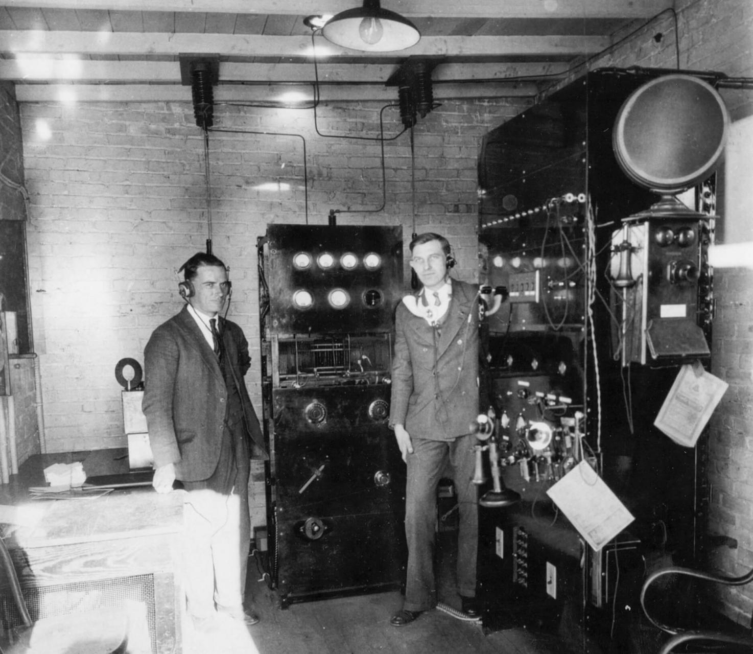 An early photo of WBT's transmitter