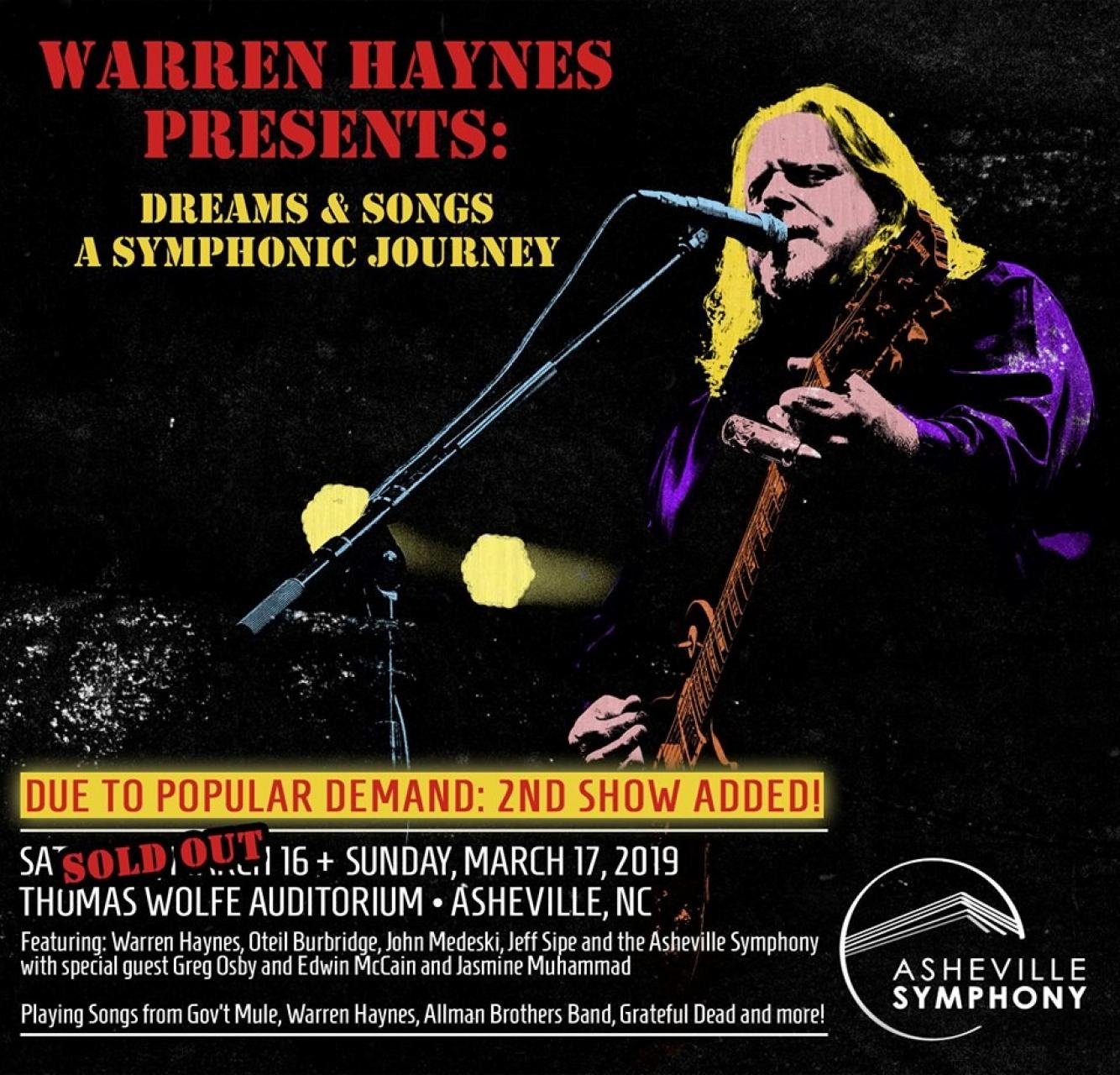 Warren Haynes will play two shows with the Asheville Symphony on March 16 and 17.