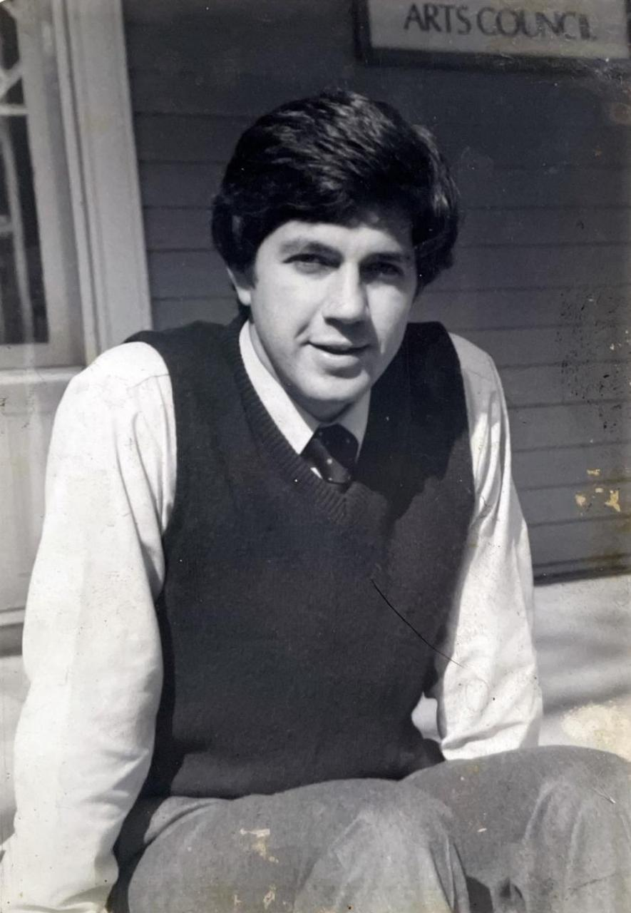 A black and white photo of Wayne Martin from 1980