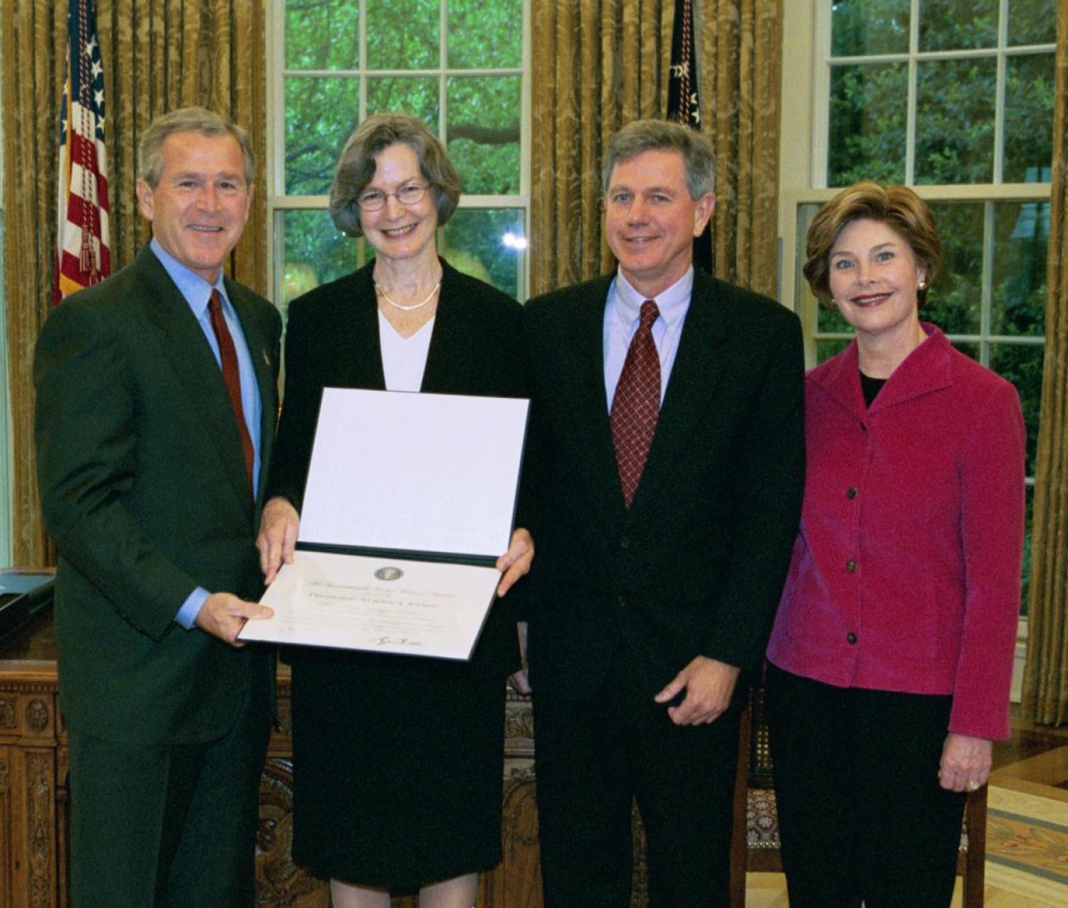President George W. Bush and First Lady Laura Bush presenting the inaugural Preserve America Presidential Award to Wayne Martin and former NCAC Executive Director Mary B Regan