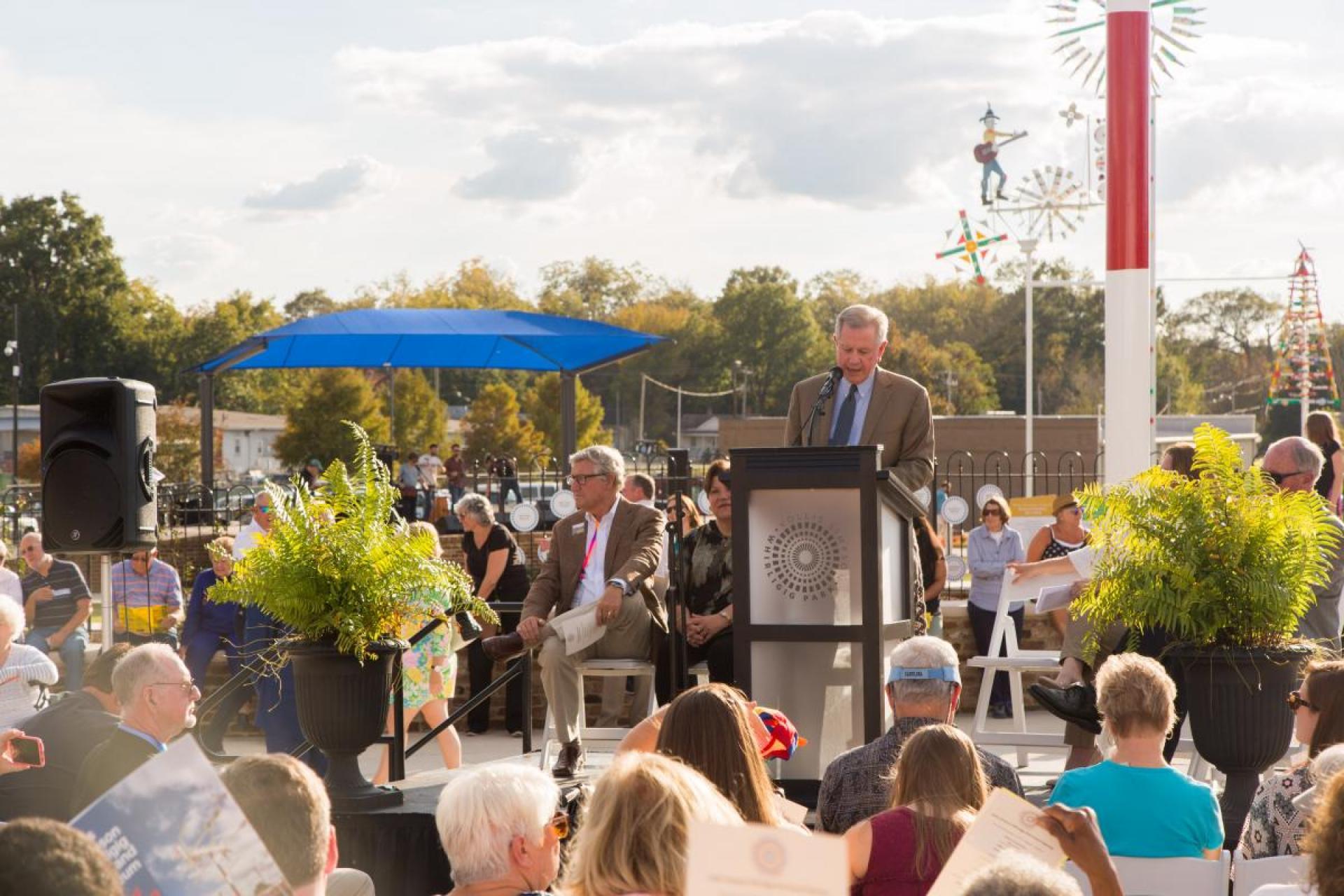 Wayne Martin speaking at the Vollis Simpson Whirligig Park grand opening in Wilson