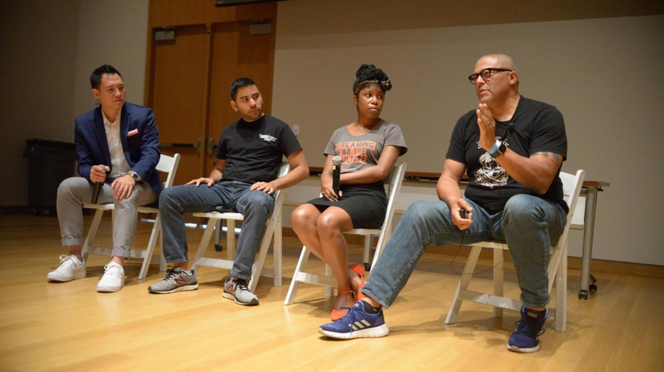 "Pictured left to right: Moderator Andy Goh, Alex Pineres (Cine Casual), DeShuna Spencer (kweliTV), and Steve Rutherford (SQAIR Media Network) participate in the ""Content Creators Of Color"" panel 