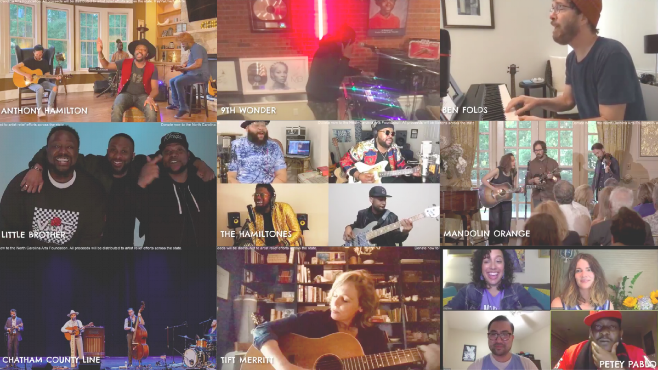 """A collage of participants from Come Hear NC's """"Under One Roof"""" livestream benefit"""