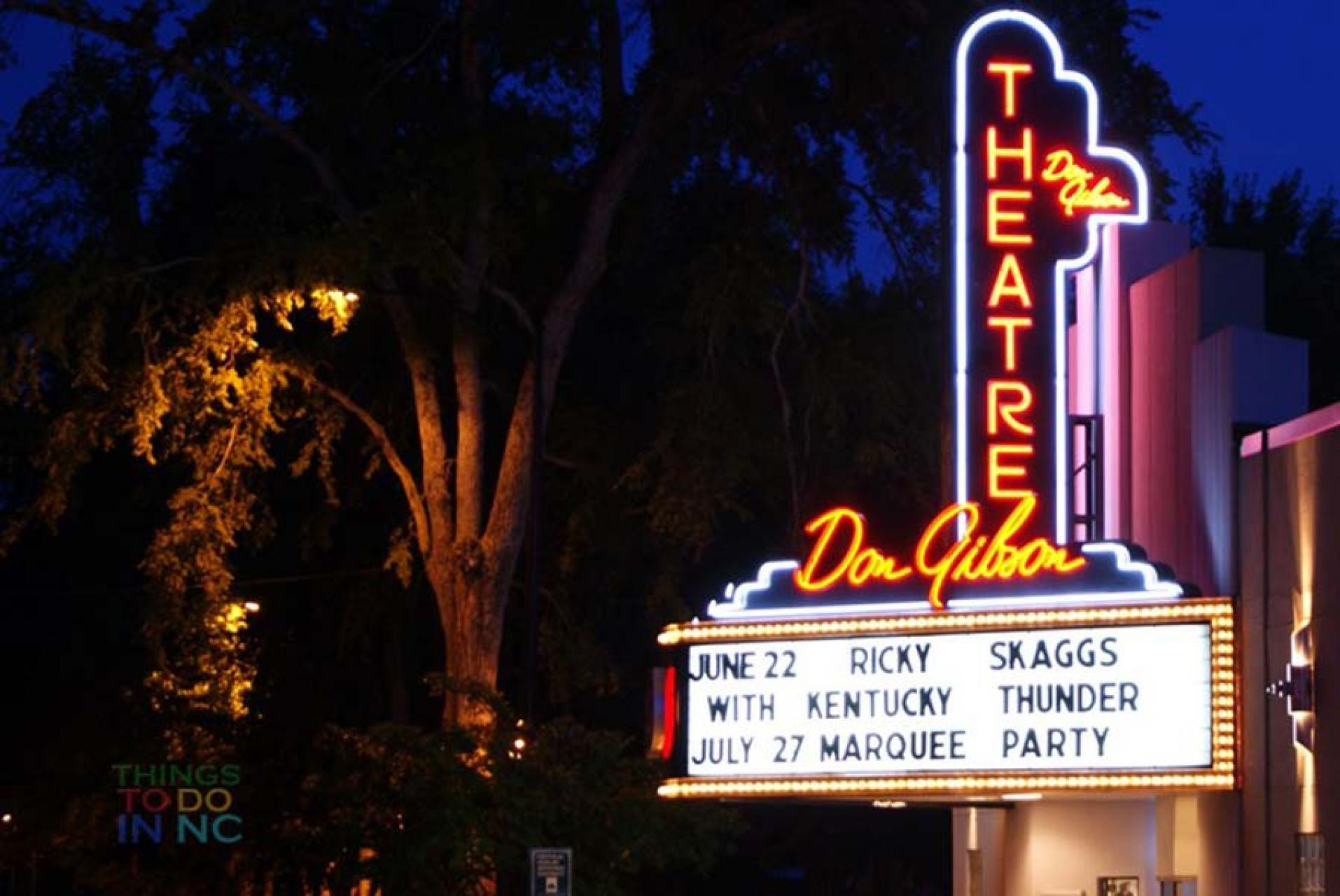 The marquee of the Don Gibson Theater in Shelby, NC