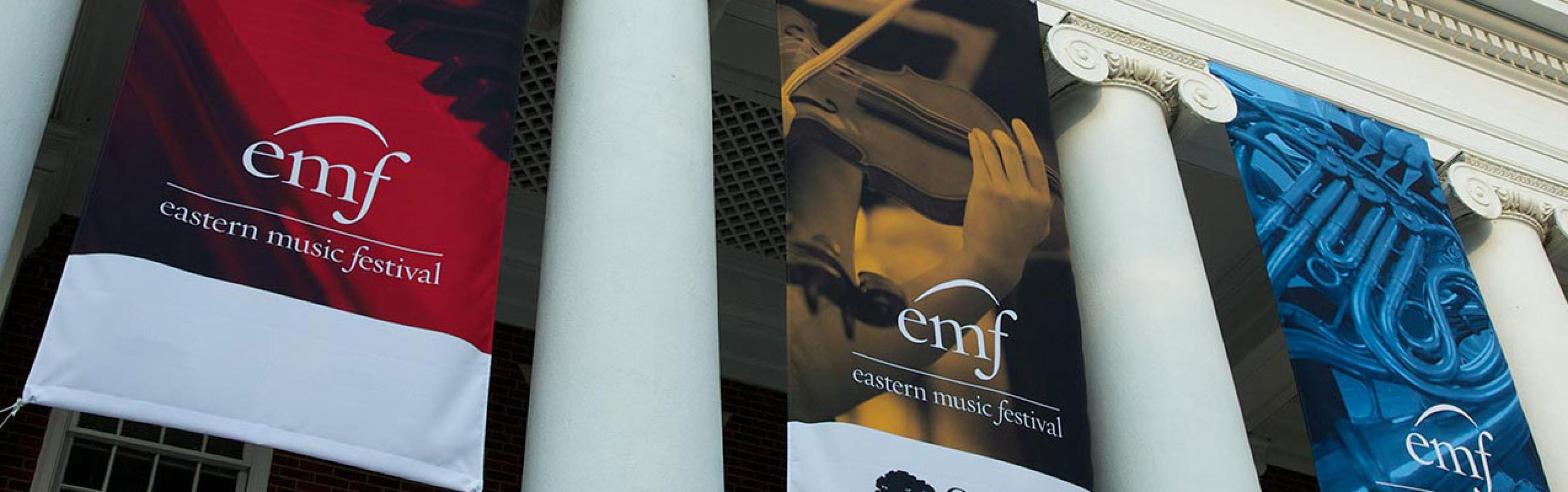 Banners hanging at one of the Eastern Music Festival venuea