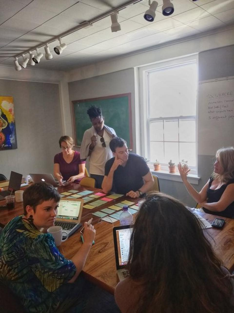 Photo of six people gathered around a work station with computers and note cards.