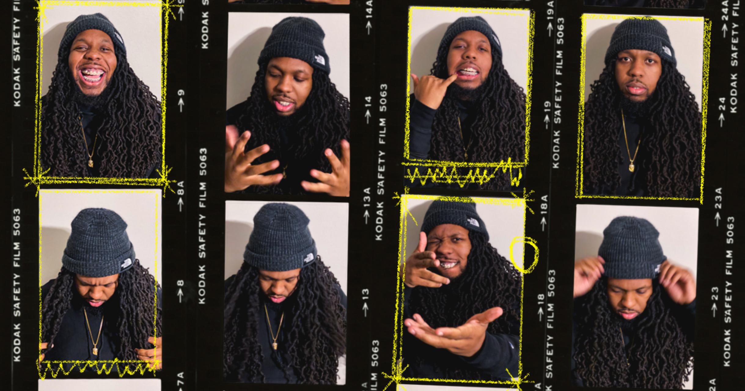 8 photos of Jerm Juice stylized in strips of film