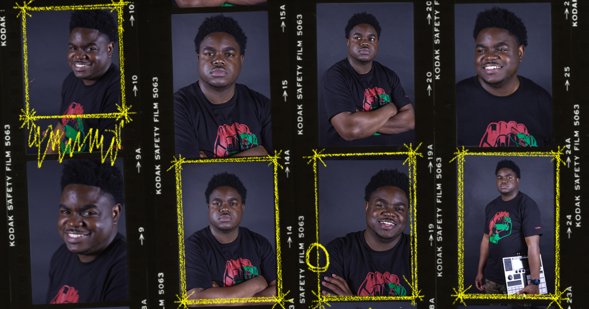 8 photos of Kashif Norville arranged in strips of film