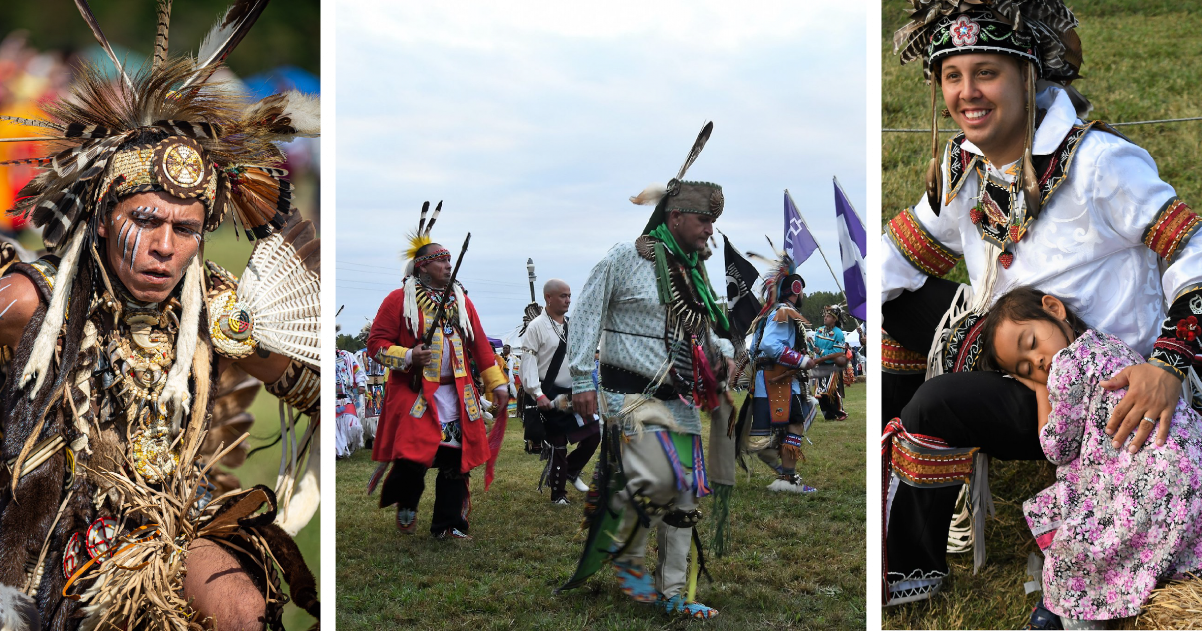 At the Meherrin Powwow. From Left: Photo by Ivan Richardson, Photo by Gordon Allen, Photo of Patrick Suarez and His Daughter by Gordon Allen.