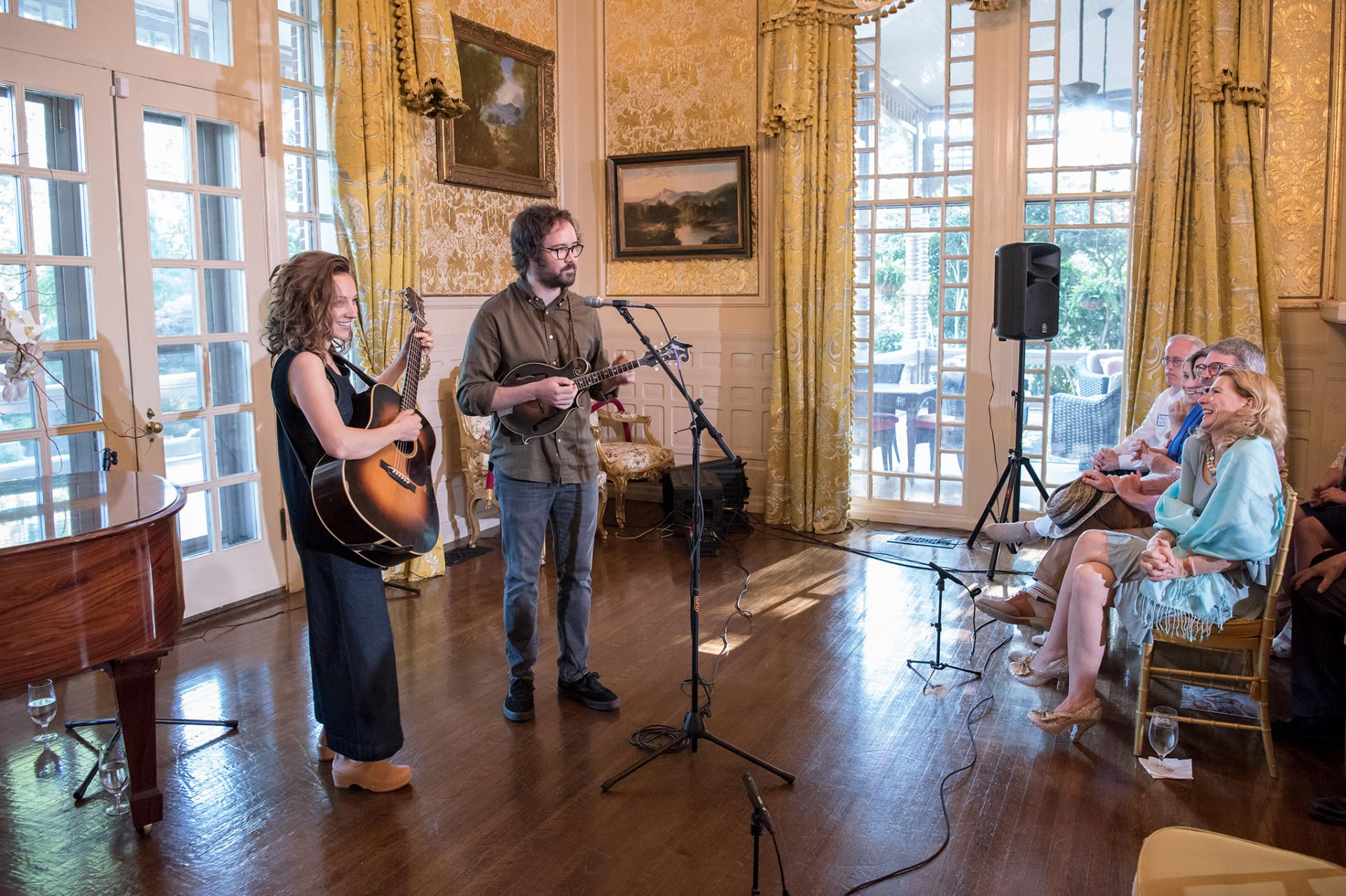 "Mandolin Orange performing at ""Music at the Mansion"" as part of the Come Hear NC / Americana Music Association partnership announcement"