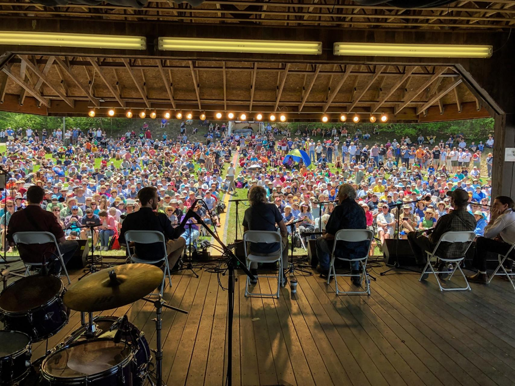 A behind the scenes look at Mando Mania, an annual MerleFest set curated by 2018 N.C. Heritage Awardee Tony Williamson and Sam Bush. Photo by Karen Bloom.